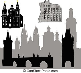 Prague silhouette-6 - Silhouettes of famous buildings and...