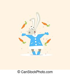 Christmas Rabbit and Falling Carrots. Vector Illustration