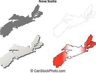 Nova Scotia blank outline map set - Nova Scotia province...