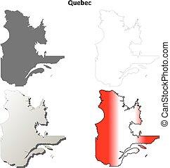 Quebec blank outline map set