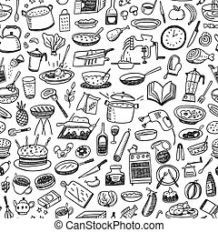 Cookery seamless background - cookery , natural food -...