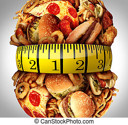 Obesity Waistline Diet - Obesity waistline diet concept as a...