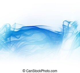 blue smoke - abstract light blue smoke isolated on white...
