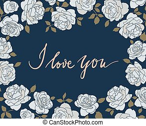 Hand drawn card with light roses on dark blue background and...