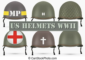 Set of Military US helmets M1 WWII - Set of Military US...