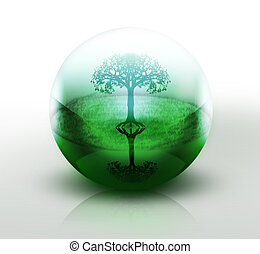 conserve nature - tree in a transparent ball - abstract...