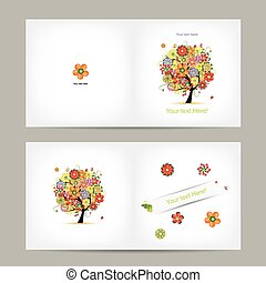 Greeting card design with fruit tree. Vector illustration