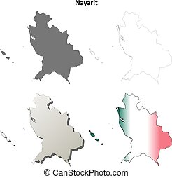 Nayarit blank outline map set - Nayarit state blank vector...