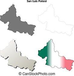 San Luis Potosi outline map set