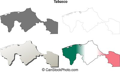 Tabasco blank outline map set - Tabasco state blank vector...