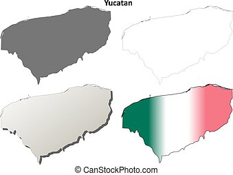 Yucatan blank outline map set - Yucatan state blank vector...