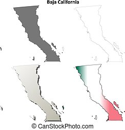 Baja California blank outline map set - Baja California...