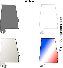 Alabama outline map set