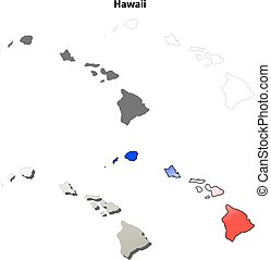 Hawaii outline map set - Hawaii state blank vector outline...