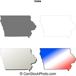 Iowa outline map set - Iowa state blank vector outline map...