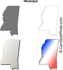 Mississippi outline map set - Mississippi state blank vector...