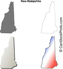 New Hampshire outline map set - New Hampshire state blank...