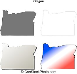 Oregon outline map set - Oregon state blank vector outline...