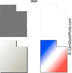 Utah outline map set - Utah state blank vector outline map...