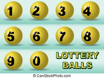 Lottery numbers - Numbered lottery balls in yellow Luck...