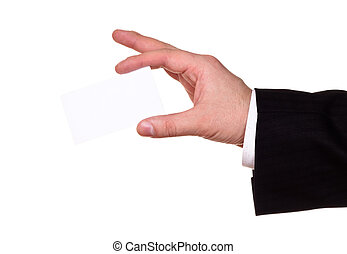 businessman hand show blank card, white background