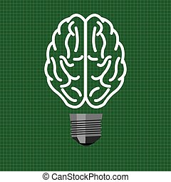 Light bulb brain in vector style