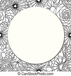 Round paper card on the background of beautiful flowers Art...
