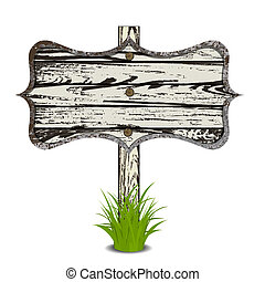 Wooden sign on grass. Art illustration. Isolated on white
