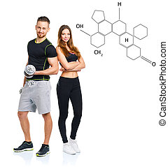 Athletic man and woman with dumbbells with the chemical...