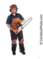 Chainsaw Worker - a man holding a chainsaw isolated on a...