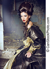 hairdressing - Art Fashion. Beautiful young woman in elegant...