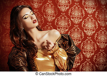 renaissance beauty - Beautiful young lady in the lush...