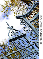 Wrought iron gate - Detail of an old wrought iron gate in a...
