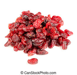 Dried Cranberry Isolated on White Background - A pile of...