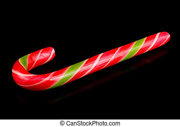 Candy Cane on Black Background