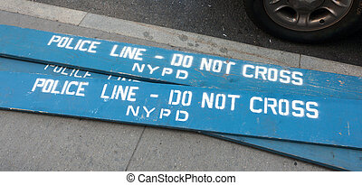Wooden police barricades in the city of new york - Police...