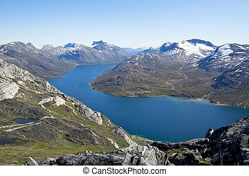 Greenland mountain range - The mountains behind Nuuk,...