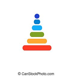 baby rainbow pyramid flat vector icon - baby rainbow pyramid...
