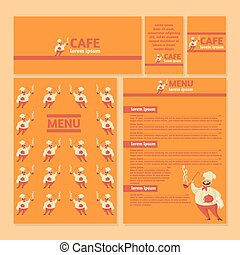 Restaurant menu template with cook.