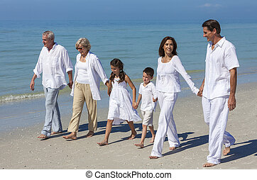 Mother, Father Granparents, Children Family Walking on Beach...