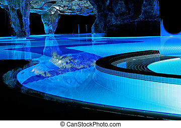 Swimming pool in neon light - Huge swimming pool in neon...