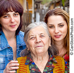familia, retrato, -, hija, nieta, abuela