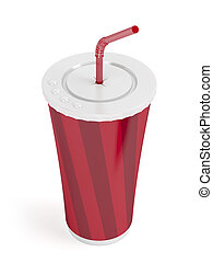 Paper cup with bendable straw - Fast food paper cup with red...