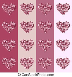 Floral heart on striped background seamless vintage pattern