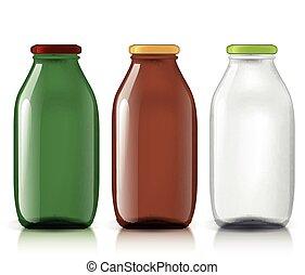 Template of glass bottles - Set of transparent bottles...