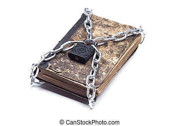 Old vintage tattered book lock with chain white background