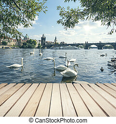 Charles bridge and Swans - Wooden platform and view Charles...