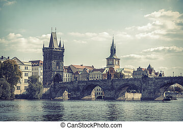 Charles Bridge in Prague, Czech Republic - View on Charles...