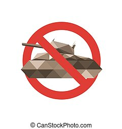 Forbidden sign for military tanks isolated on white...