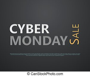 Cyber Monday sale. Paper cut lettering at dark gloss paper